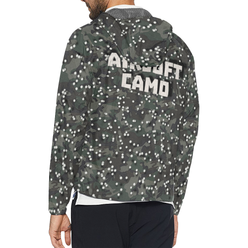 funny airsoft and paintball gamer woodland camouflage design parody Unisex All Over Print Windbreaker (Model H23)
