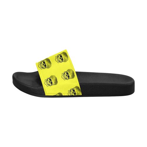 Funny Skull Pattern, yellow Women's Slide Sandals (Model 057)