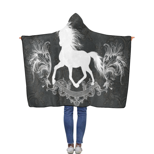 Horse, black and white Flannel Hooded Blanket 40''x50''