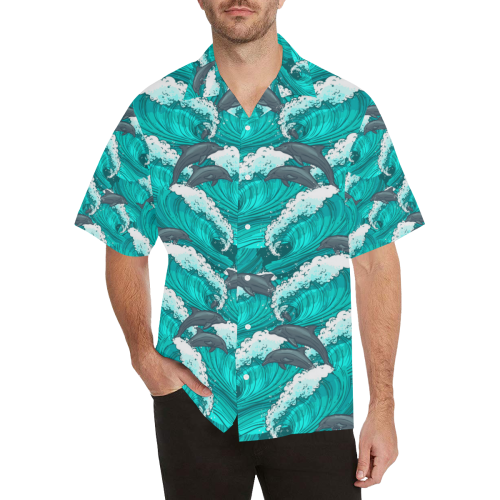 Happy Dolphins Hawaiian Shirt (Model T58)