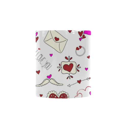 Valentine's Day LOVE HEARTS pattern red pink Custom Morphing Mug (11oz)