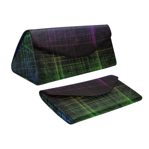 Blue and Green Retro Glitch Custom Foldable Glasses Case