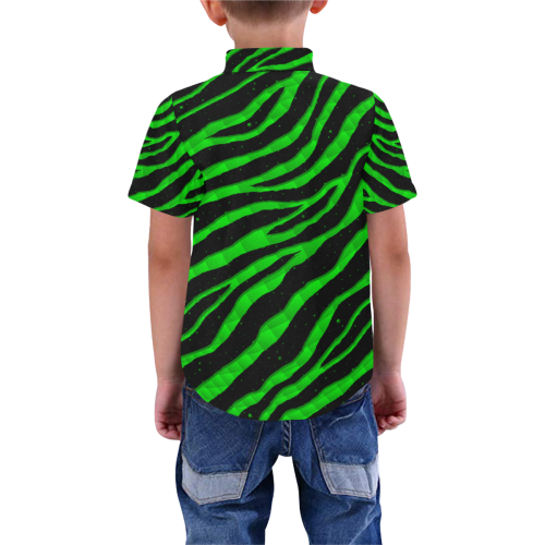 Ripped SpaceTime Stripes - Green Boys' All Over Print Short Sleeve Shirt (Model T59)