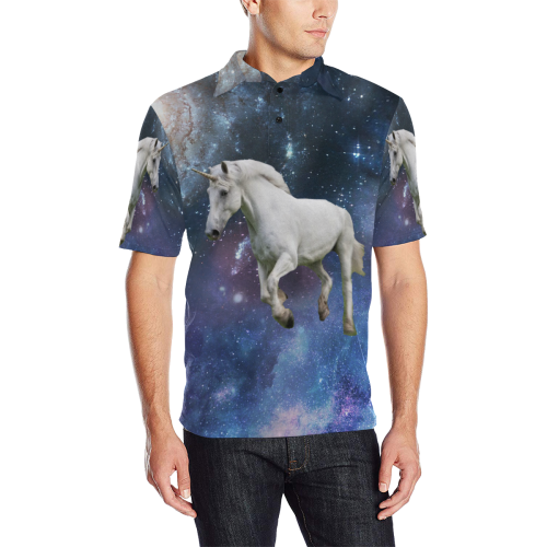 Unicorn and Space Men's All Over Print Polo Shirt (Model T55)