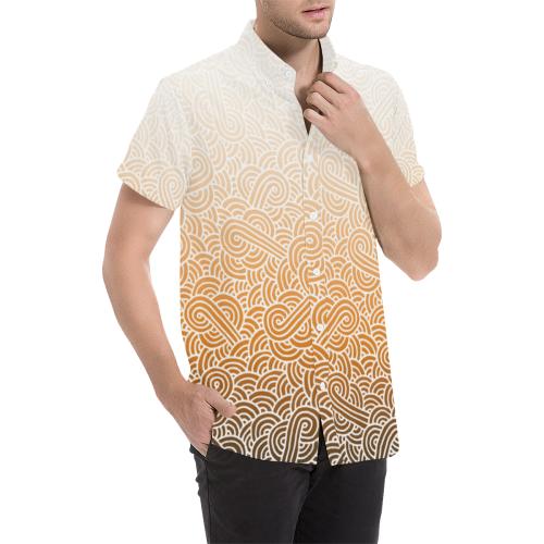 Ombré orange and white swirls doodles Men's All Over Print Short Sleeve Shirt (Model T53)