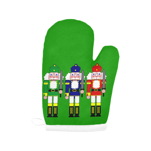 Nutcracker Christmas Toy Soldiers on Green Oven Mitt (Two Pieces)