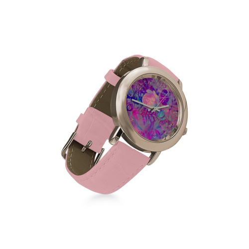 clock flowers purple watch Women's Rose Gold Leather Strap Watch(Model 201)