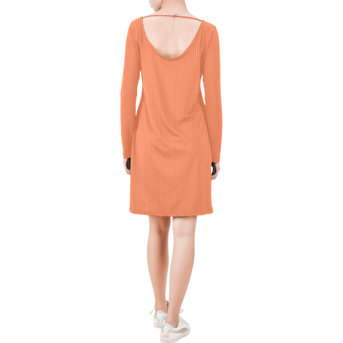 Living Coral Color Pinstripes Long Sleeve String Tie Dress (Model D54)