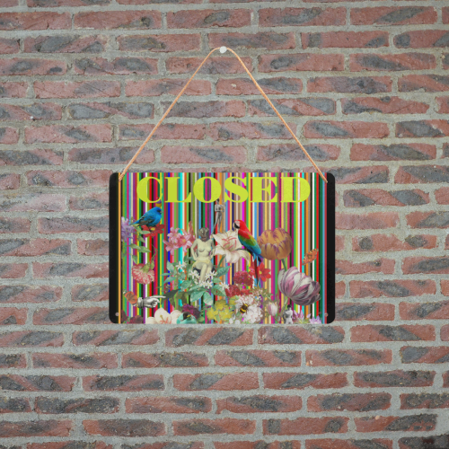 """Summer Flowers (closed) Metal Tin Sign 12""""x8"""""""