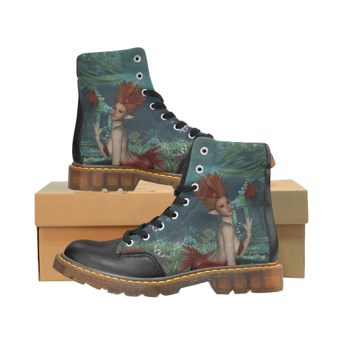 Beautiful mermaid and fantasy fish Apache Round Toe Women's Winter Boots (Model 1402)