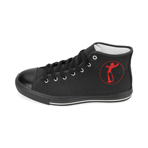 DW The Beginning Blk Red Love Men's Classic High Top Canvas Shoes (Model 017)