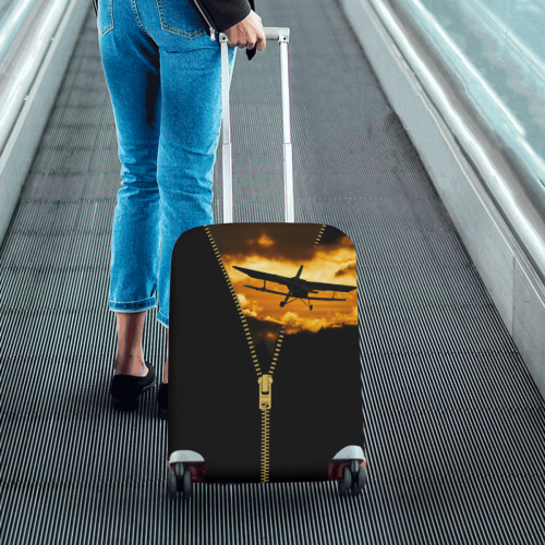 """ZIPPER Old Biplane in the Sky Luggage Cover/Small 18""""-21"""""""