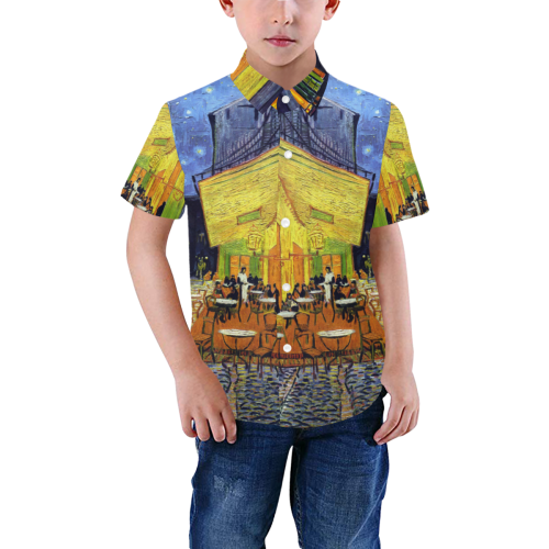 Vincent Willem van Gogh - Cafe Terrace at Night Boys' All Over Print Short Sleeve Shirt (Model T59)