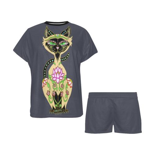 Siamese Cat Sugar Skull Navy Blazer Women's Short Pajama Set (Sets 01)