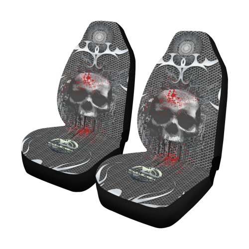 Awesome skull on metal design Car Seat Covers (Set of 2)