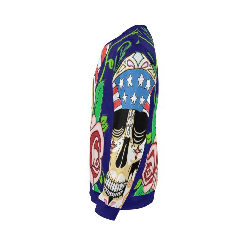 Biker Sugar Skull Dark Blue All Over Print Crewneck Sweatshirt for Men (Model H18)