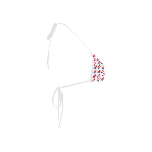 Puerto Rican Flags White Custom Bikini Swimsuit Top