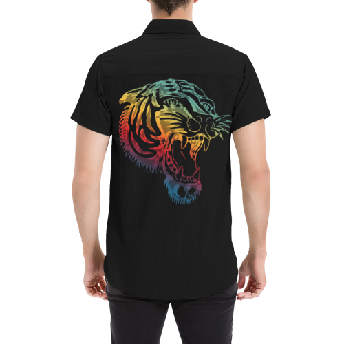 Roaring Tiger Tattoo colored Men's All Over Print Short Sleeve Shirt (Model T53)