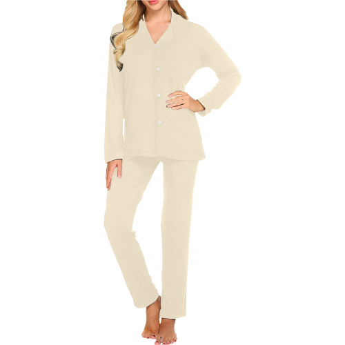 color papaya whip Women's Long Pajama Set (Sets 02)