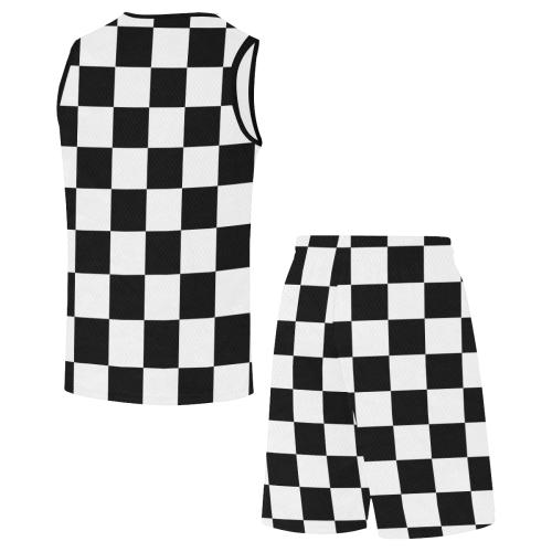 Black White Checkers All Over Print Basketball Uniform