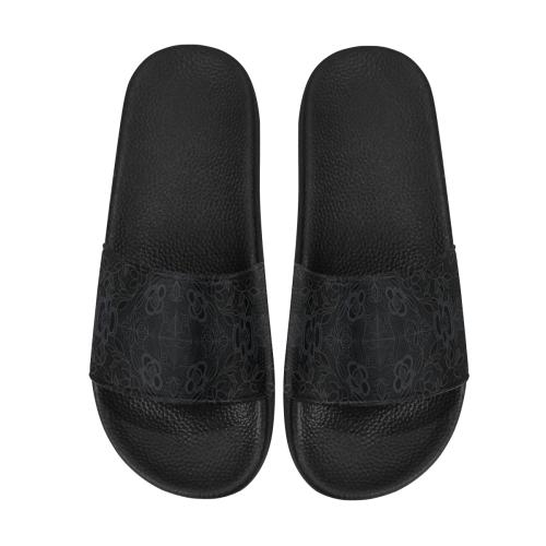 Black Crocheted Lace Mandala Pattern Women's Slide Sandals (Model 057)