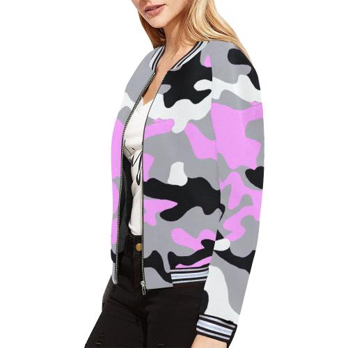 War Hustler pINK All Over Print Bomber Jacket for Women (Model H21)