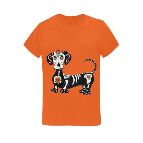 Dachshund Sugar Skull Orange Women's Heavy Cotton Short Sleeve T-Shirt