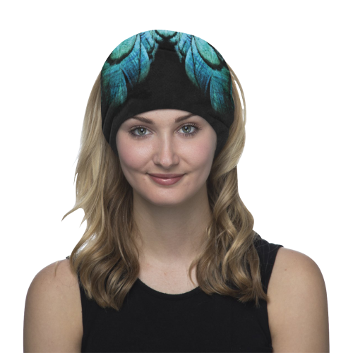 blue feathered peacock animal print design community face mask Multifunctional Headwear