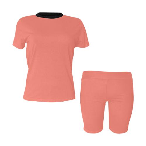 color salmon Women's Short Yoga Set (Sets 03)