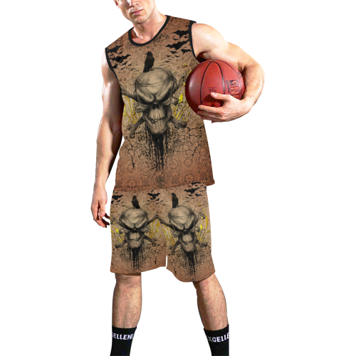 The scary skull with crow All Over Print Basketball Uniform