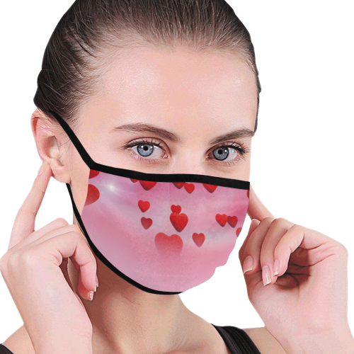 lovely romantic sky heart pattern for valentines day, mothers day, birthday, marriage - face mask Mouth Mask (60 Filters Included) (Non-medical Products)