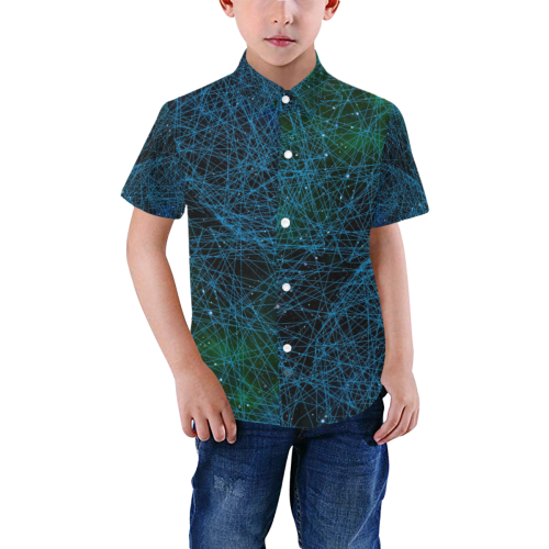 System Network Connection Boys' All Over Print Short Sleeve Shirt (Model T59)
