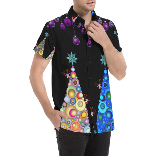 christmas and red nosed reindeer Men's All Over Print Short Sleeve Shirt (Model T53)