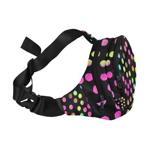 Color Dots Black. Inspired by the Magic Island of Gotland. Fanny Pack/Small (Model 1677)