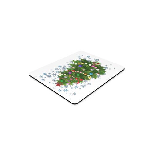 Snowflakes and Christmas Tree with Red Star Rectangle Mousepad