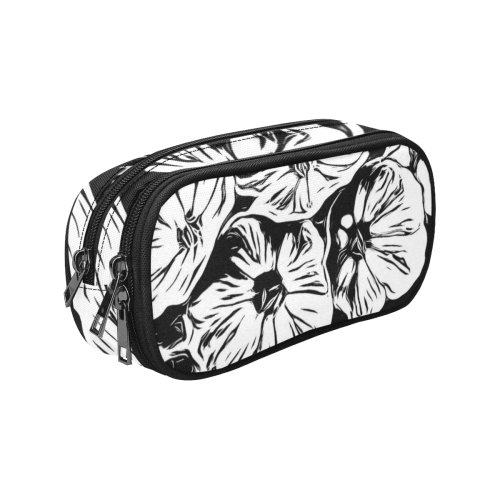 Inky Black and White Floral 3 by JamColors Pencil Pouch/Large (Model 1680)
