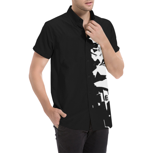 TDS Men's Black Short Sleeve Button Up Shirt Men's All Over Print Short Sleeve Shirt (Model T53)