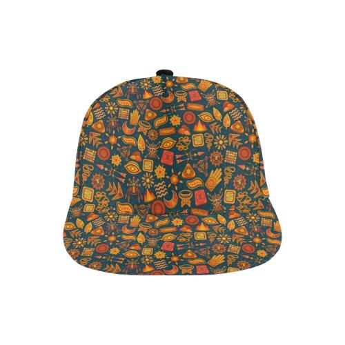 Ethno Pattern Green Orange 2 All Over Print Snapback Hat A