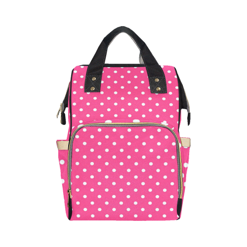 Hot Pink White Dots Multi-Function Diaper Backpack (Model 1688)