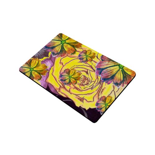 """Watercolor Flowers Yellow Purple Green Doormat 24""""x16"""""""