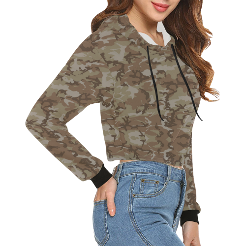 Woodland Desert Brown Camouflage All Over Print Crop Hoodie for Women (Model H22)