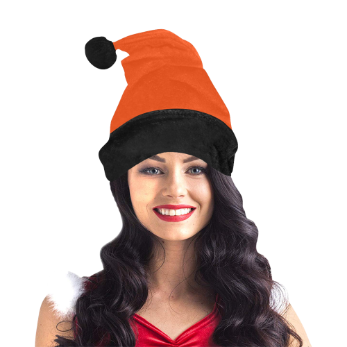 Team Colors Orange and Black Santa Hat