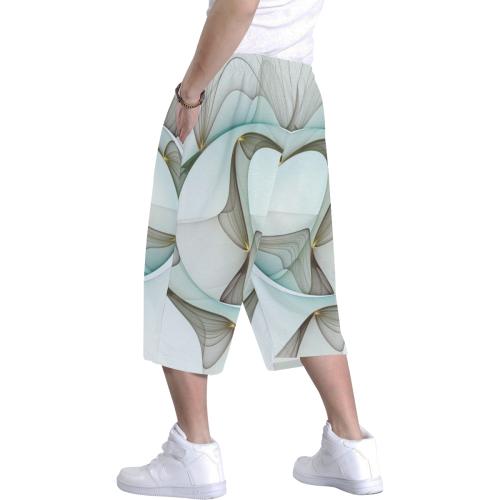 Abstract Modern Art Turquoise Brown Golden Elegance Men's All Over Print Baggy Shorts (Model L37)