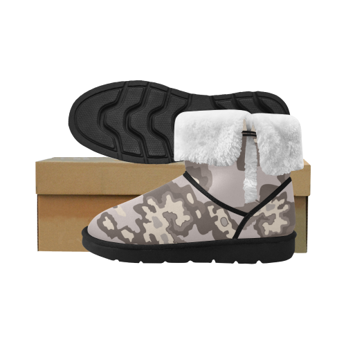 Dust-color camo Design camu boots ethno 2 Unisex Single Button Snow Boots (Model 051)