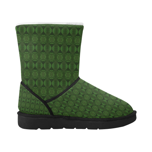 Hunter Green Kaleidoscope Unisex Single Button Snow Boots (Model 051)