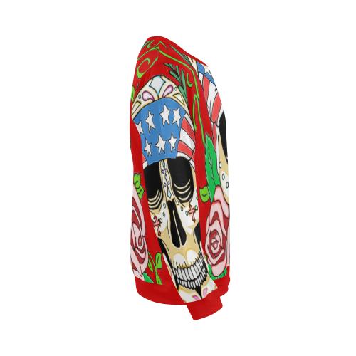 Biker Sugar Skull Red All Over Print Crewneck Sweatshirt for Men (Model H18)