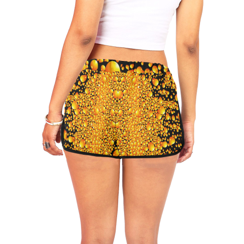 yellow bubble Women's All Over Print Relaxed Shorts (Model L19)