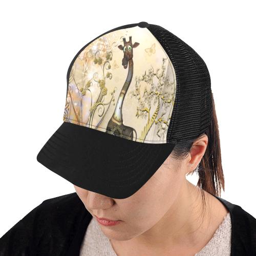Funny steampunk giraffe Trucker Hat H (Front Panel Customization)