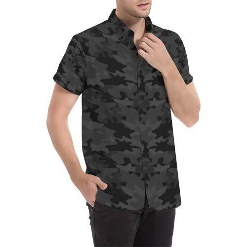 Black Camouflage Men's All Over Print Short Sleeve Shirt (Model T53)