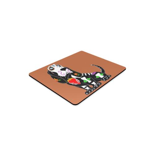 Basset Hound Sugar Skull Rust Rectangle Mousepad